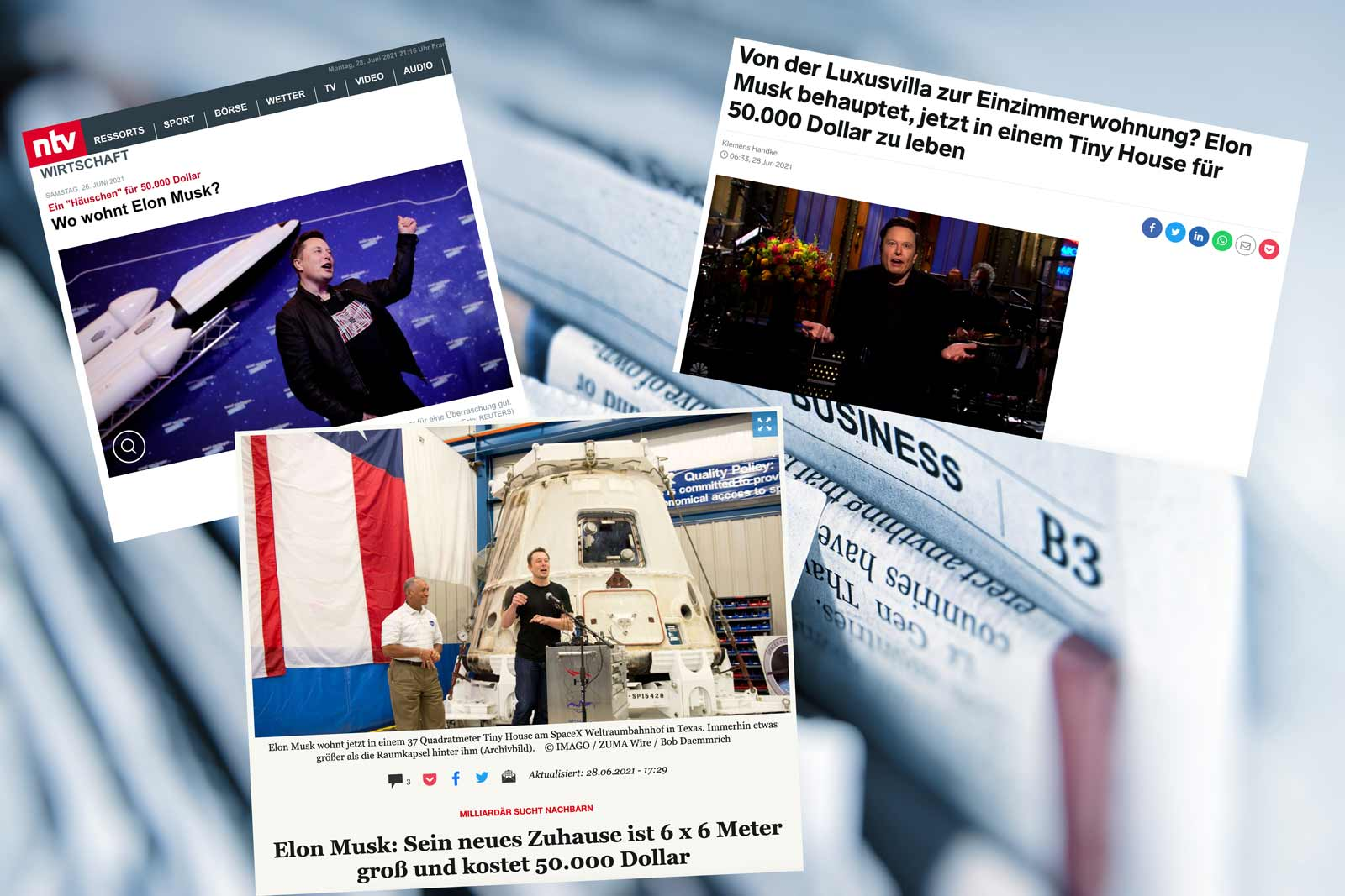 Presseartikel – Elon Musk wohnt im Tiny House